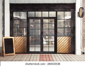 3d rendering of restaurant facade