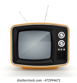 3D rendering retro TV on white background