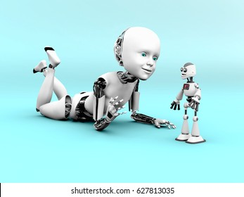 3D rendering of a robot child lying on the floor and playing with a toy robot. Bluish background.
