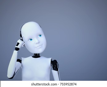 3D rendering of a robot child thinking about something. Bluish background.