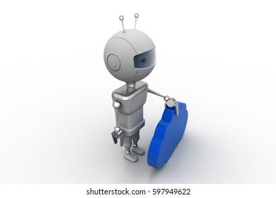 3d rendering of Robot  with cloud