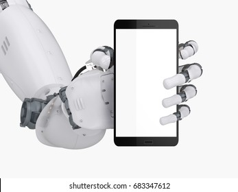 3d rendering robot hand holding blank screen mobile phone isolated on white