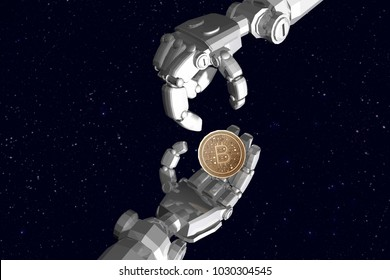 3D rendering , Robot hands send bitcoin to other robot hand with background space sky.