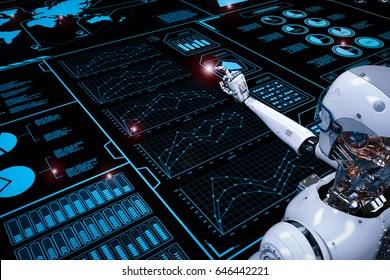 3d rendering robot working with digital display