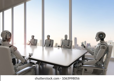 3d rendering robot working in office or conference room