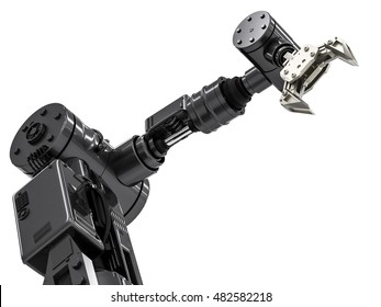 3d rendering robotic arm on white background