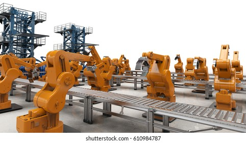 3d rendering robotic arms with conveyor lines