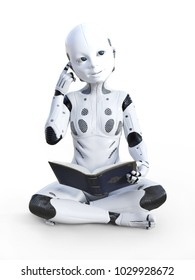 3D rendering of robotic child sitting on the floor, reading a book and looking like it is thinking about something. White background.