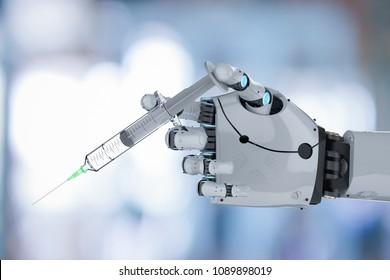 3d rendering robotic hand holding medical syringe