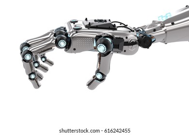 3d rendering robotic hand holding isolated on white