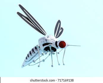 3D rendering of a robotic mosquito nr 2. Light blue background.