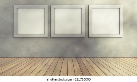 3d rendering. Room floor and frames