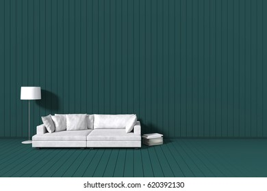 3d rendering : room Minimalist interior light and shadow with white leather sofa at front of red wooden tile wall and floor. minimalism modern style wall background. design your HOME concept