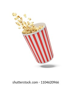 3d rendering of a round striped popcorn bucket hanging in the air with popcorn flying out of it. Movie snack. Tasty fast food. Greasy and salty corn.