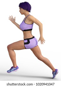 3d rendering running woman isolated on white
