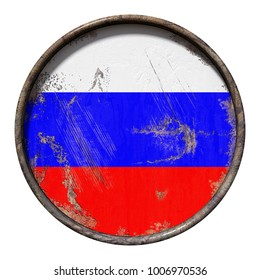 3d rendering of a Russian Federation flag over a rusty metallic plate. Isolated on white background.