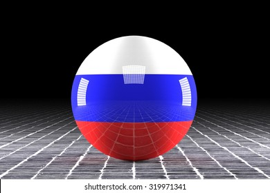 3d rendering of a russian flag on a sphere