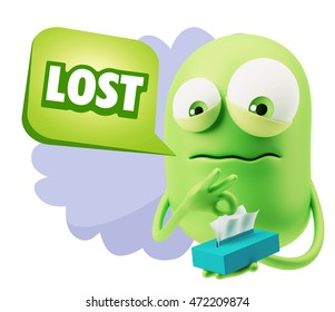 3d Rendering Sad Character Emoticon Expression saying Lost with Colorful Speech Bubble.