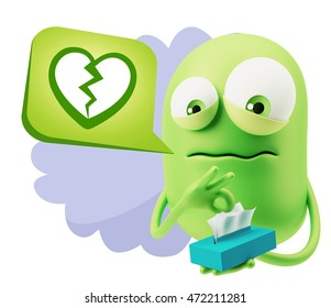 3d Rendering Sad Character Emoticon Expression saying Broken Heart Icon with Colorful Speech Bubble.