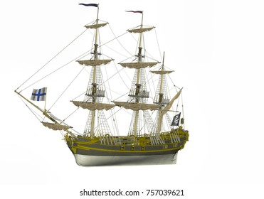 3D rendering of sail ship isolated on white background