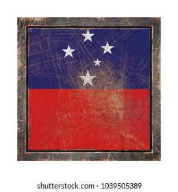 3d rendering of a Samoa flag over a rusty metallic plate in an old frame. Isolated on white background.