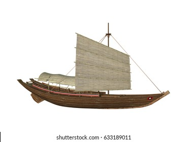3D rendering of a sampan isolated on white background