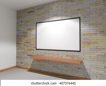 3D rendering sandstone walls are decorated with lights shines onto board