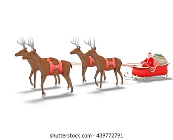 3d rendering Santa Claus in the sleigh carrying the gifts