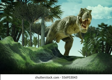 3D  rendering  scene of the giant dinosaur destroy the park