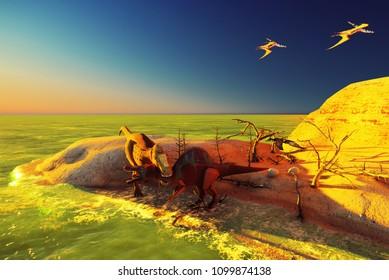 3D rendering scene of the giant dinosaurs