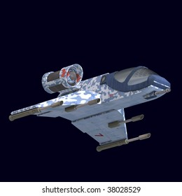 3D rendering of a sci fi spaceship in universe with clipping path and shadow over white