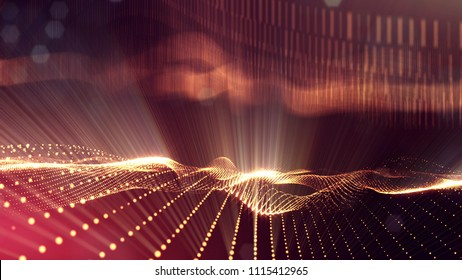 3d rendering, science fiction background of glowing particles with depth of field and bokeh. Particles form line and surface grid. microcosm or space. Red gold v32