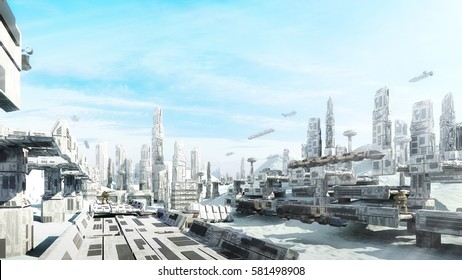 3D Rendering Scifi fantasy concept cityscape and Transport in the future the Winter City