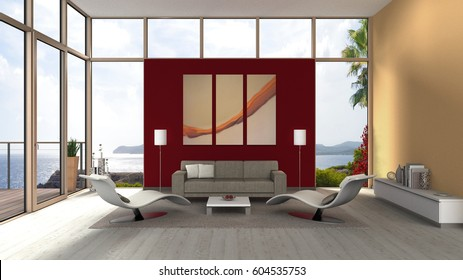 3D rendering of a seaside living room interior with glass front, french door and terrace