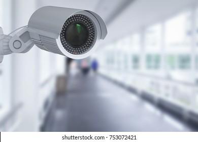 3d rendering security camera or cctv camera indoor