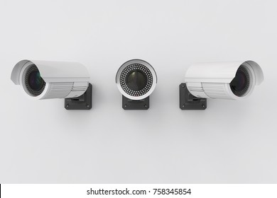 3d rendering security camera or cctv camera on wall