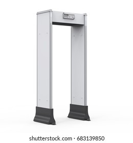 3d rendering security gates or walk through detector on white background