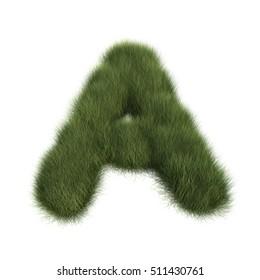 3D rendering of sedge grass alphabet