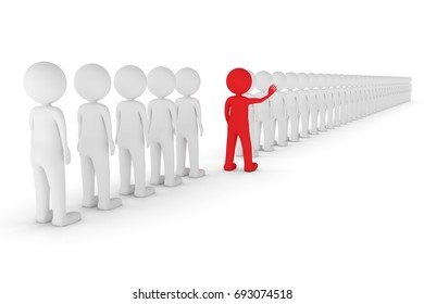 A 3D rendering from a sequence of many clay characters who are standing in a line where a red characters breaks the rank.