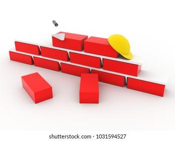 3d rendering Set of bricks stacked