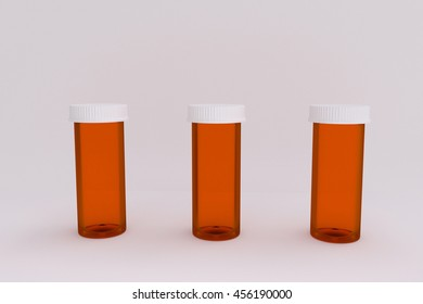 3D rendering of a set of empty labeled medical pill bottles