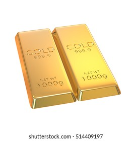The 3d rendering set of gold bars isolated on white background