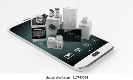 3d rendering set of home appliances on a smart phone