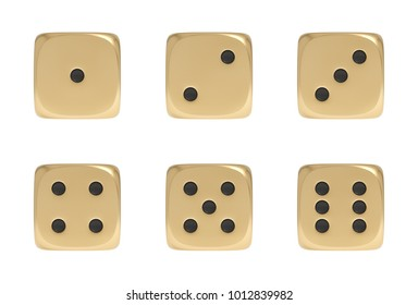 3d rendering of a set made up of nine golden game dice on a white background. Games and recreation. Gambling. Cards and casino.