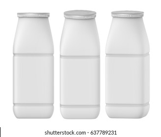 3D rendering Set of mock up template of yogurt milk square plastic bottle with silver foil cover on white background