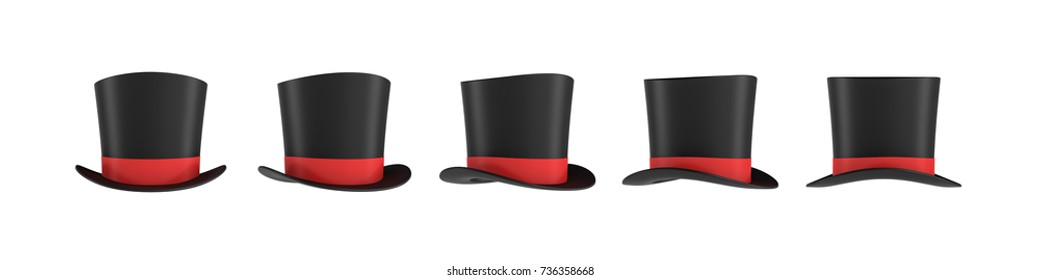 3d rendering of a set of several black magician's hats with one red stripe in different side views. Wizard's hat. Magicians and artists. Illusionist's show.