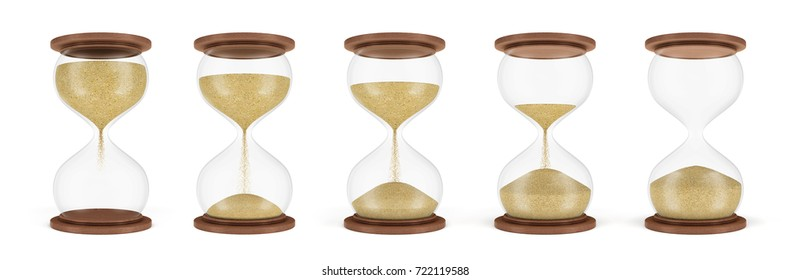 3d rendering of a set of several hourglasses standing in one row with the sand in different stages of falling down. Lifetime decisions. Countdown. Start and finish.