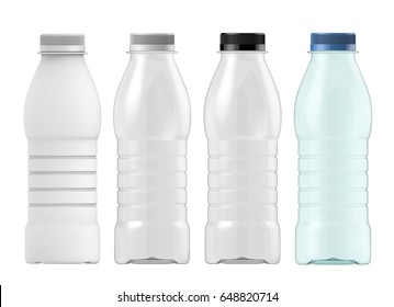 3D rendering Set of template of plastic bottle with lid for Juice or milk. Mock up