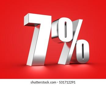 3D Rendering of a seven percent symbol