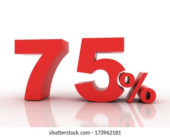 3d rendering of seventy five percent discount in red letters on a white background